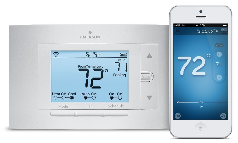 Emerson Sensi WiFi Thermostat and companion app on an iPhone